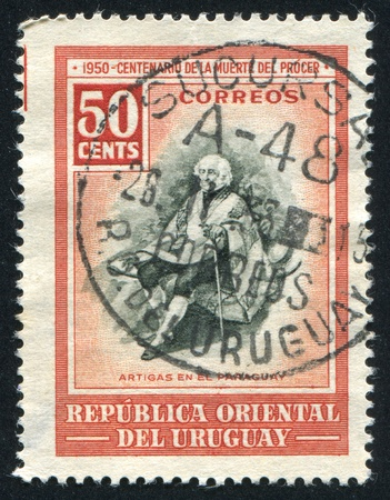 URUGUAY - CIRCA 1952: stamp printed by Uruguay, shows Artigas in Paraguay, circa 1952 Stock Photo - 14137165
