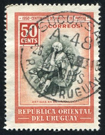 artigas: URUGUAY - CIRCA 1952: stamp printed by Uruguay, shows Artigas in Paraguay, circa 1952