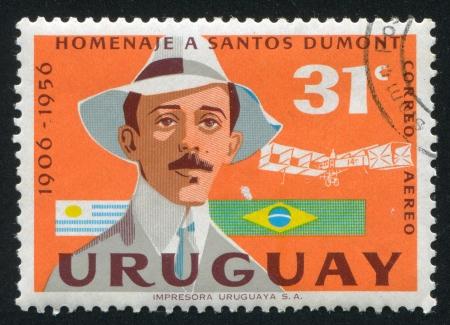 alberto: URUGUAY - CIRCA 1959: sello impreso por el Uruguay, muestra Alberto Santos Dumont, alrededor del a�o 1959