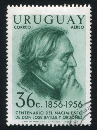 URUGUAY - CIRCA 1956: stamp printed by Uruguay, shows Jose Batlle y Ordonez, circa 1956 Stock Photo - 14137143