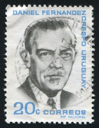 URUGUAY - CIRCA 1966: stamp printed by Uruguay, shows Daniel Fernandez Crespo, circa 1966 Stock Photo - 14136974