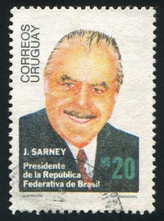 URUGUAY - CIRCA 1986: stamp printed by Uruguay, shows State Visit of President Jose Sarney of Brazil, circa 1986 Stock Photo - 14137050
