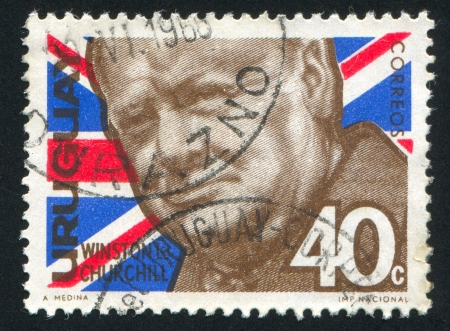 URUGUAY - CIRCA 1966: stamp printed by Uruguay, shows Winston Churchill, circa 1966 Stock Photo - 14136994