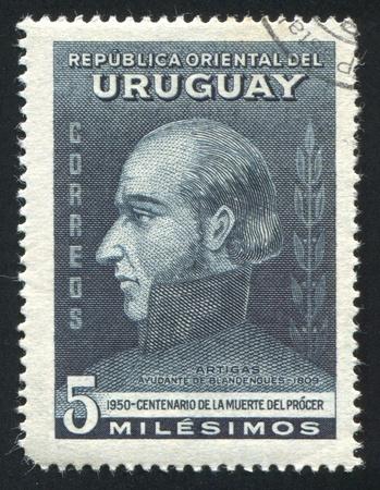 artigas: URUGUAY - CIRCA 1952: stamp printed by Uruguay, shows Jose Artigas, circa 1952 Editorial
