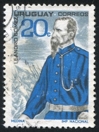 gomez: URUGUAY - CIRCA 1966: stamp printed by Uruguay, shows Leandro Gomez, circa 1966 Editorial