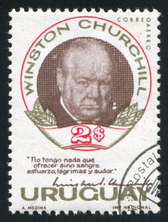 statesman: URUGUAY - CIRCA 1966: stamp printed by Uruguay, shows Winston Churchill, circa 1966