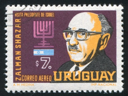 URUGUAY - CIRCA 1966: stamp printed by Uruguay, shows President Zalman Shazar of Israel, circa 1966 Stock Photo - 14136961