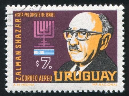 URUGUAY - CIRCA 1966: stamp printed by Uruguay, shows President Zalman Shazar of Israel, circa 1966 Stock Photo - 14136961