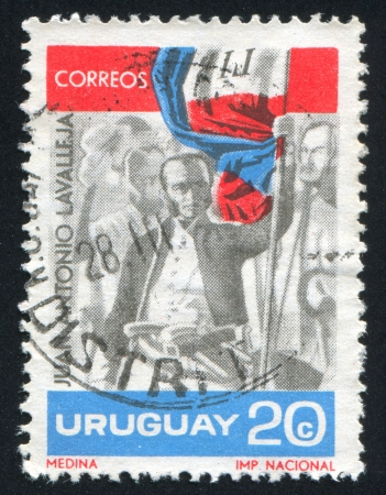 URUGUAY - CIRCA 1966: stamp printed by Uruguay, shows Juan Antonio Lavalleja, circa 1966 Stock Photo - 14136970