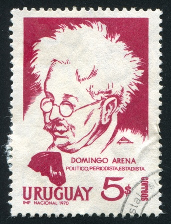 URUGUAY - CIRCA 1971: stamp printed by Uruguay, shows Domingo Arena, Lawyer and Journalist, circa 1971 Stock Photo - 14137022