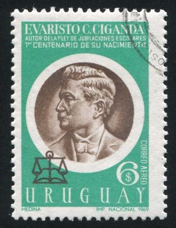 URUGUAY - CIRCA 1970: stamp printed by Uruguay, shows Evaristo Ciganda, circa 1970 Stock Photo - 14136955