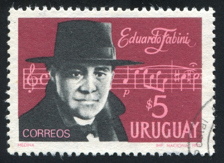 URUGUAY - CIRCA 1971: stamp printed by Uruguay, shows Eduardo Fabini, Bar from Campo, circa 1971