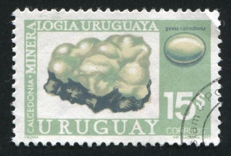 URUGUAY - CIRCA 1972: stamp printed by Uruguay, shows Chalcedony, circa 1972 Stock Photo - 13980487
