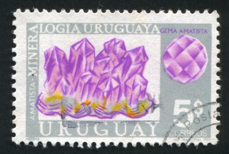 URUGUAY - CIRCA 1972: stamp printed by Uruguay, shows Amethyst, circa 1972 Stock Photo - 13980501