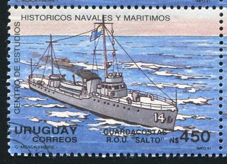 ketch: URUGUAY - CIRCA 1991: stamp printed by Uruguay, shows Coast Guard Cutter, circa 1991 Stock Photo
