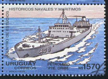 URUGUAY - CIRCA 1991: stamp printed by Uruguay, shows Tanker, circa 1991 photo