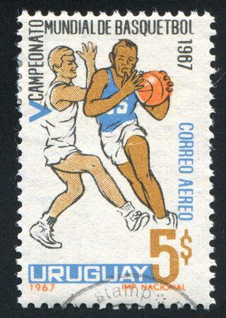URUGUAY - CIRCA 1967: stamp printed by Uruguay, shows basketball, circa 1967 photo
