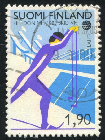 FINLAND - CIRCA 1989: stamp printed by Finland, shows Skier, circa 1989 photo