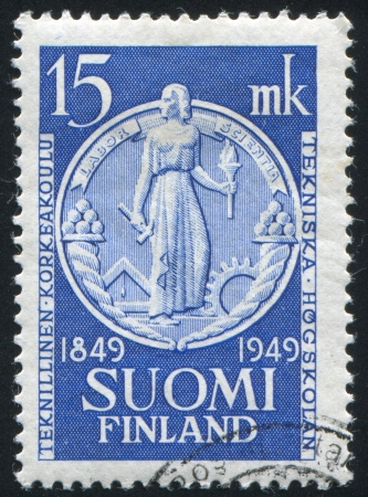 FINLAND - CIRCA 1949:  stamp printed by Finland, shows statue of women, circa 1949 Stock Photo - 14105034