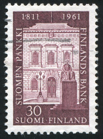 FINLAND - CIRCA 1961:  stamp printed by Finland, shows bank building, circa 1961 photo