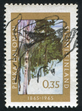 FINLAND - CIRCA 1965:  stamp printed by Finland, shows winter trees, circa 1965 photo