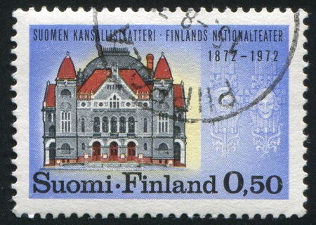 FINLAND - CIRCA 1972:  stamp printed by Finland, shows theatre building, circa 1972 photo