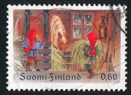 FINLAND - CIRCA 1979:  stamp printed by Finland, shows horse, stable, circa 1979 photo
