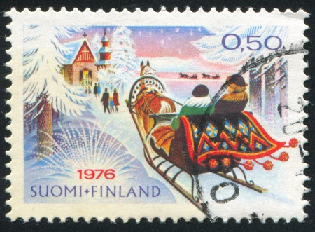 FINLAND - CIRCA 1976:  stamp printed by Finland, shows road to church, circa 1976 photo