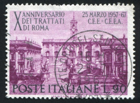 ITALY - CIRCA 1967: stamp printed by Italy, shows Seat of Parliament on Capitoline Hill, Rome, circa 1967 Stock Photo - 14105180