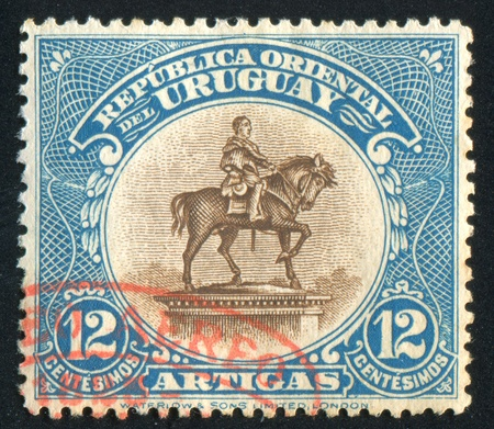 URUGUAY - CIRCA 1923: stamp printed by Uruguay, shows Equestrian Statue of Artigas, circa 1923 Stock Photo - 14105030