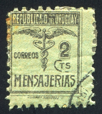 URUGUAY - CIRCA 1922: stamp printed by Uruguay, shows Caduceus, circa 1922 Stock Photo - 14105063