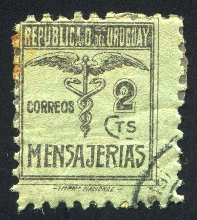URUGUAY - CIRCA 1922: stamp printed by Uruguay, shows Caduceus, circa 1922 Stock Photo - 14105063