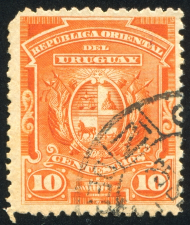 laurel mountain: URUGUAY - CIRCA 1889: stamp printed by Uruguay, shows Coat of Arms, circa 1889