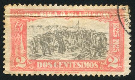 URUGUAY - CIRCA 1925: stamp printed by Uruguay, shows Landing of the 33 Immortals Led by Juan Antonio Lavalleja, circa 1925 Stock Photo - 14105272