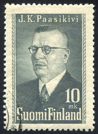 FINLAND - CIRCA 1950: stamp printed by Finland, shows Portrait of President Juho Paasikivi, circa 1950