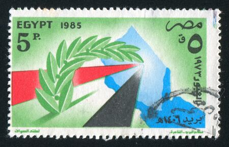 stratification: EGYPT - CIRCA 1985: stamp printed by Egypt, shows Egypt flag, map of Sinai peninsula, circa 1985 Stock Photo