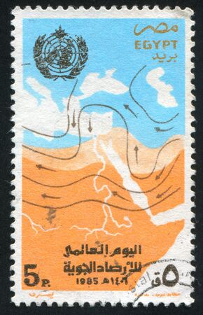 meteorological: EGYPT - CIRCA 1985: stamp printed by Egypt, shows Meteorological Map (chart), circa 1985