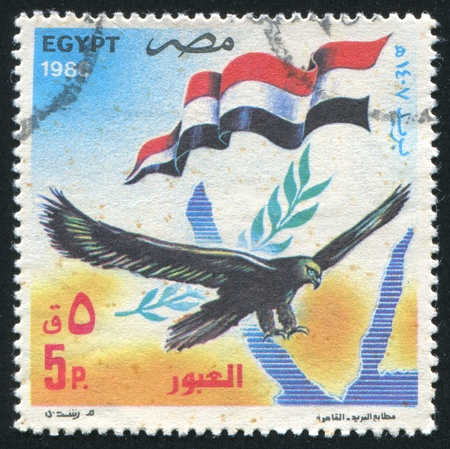 EGYPT - CIRCA 1986: stamp printed by Egypt, shows Bird, Egypt Flag, Map, circa 1986 photo