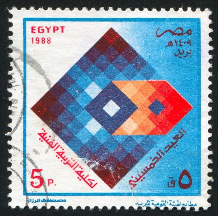 stratification: EGYPT - CIRCA 1988: stamp printed by Egypt, shows Faculty of Art Education Emblem, circa 1988