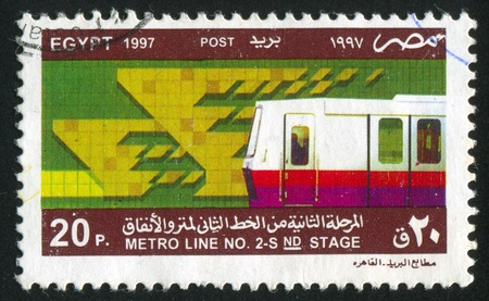 EGYPT - CIRCA 1997: stamp printed by Egypt, shows Subway, circa 1997 photo