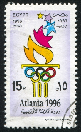 olympic symbol: EGYPT - CIRCA 1996: stamp printed by Egypt, shows Olympic emblem, circa 1996