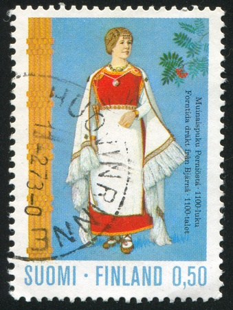 FINLAND - CIRCA 1972: stamp printed by Finland, shows Costume from Perni, circa 1972 photo