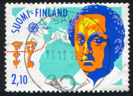 FINLAND - CIRCA 1992: stamp printed by Finland, shows Map, Columbus, circa 1992