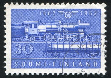FINLAND - CIRCA 1962: stamp printed by Finland, shows Steam Locomotive, circa 1962 photo
