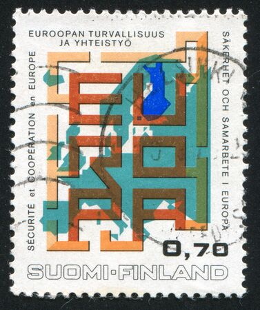 FINLAND - CIRCA 1973: stamp printed by Finland, shows Map of Europe as a Maze, circa 1973 photo
