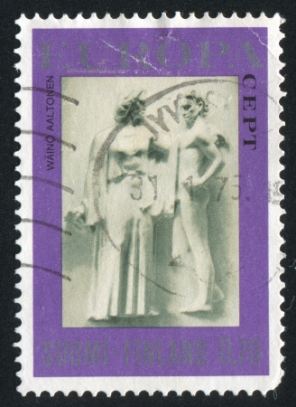 FINLAND - CIRCA 1974: stamp printed by Finland, shows Sculpture Goddess of Freedom by Waino Aaltonen, circa 1974 Stock Photo - 14174914