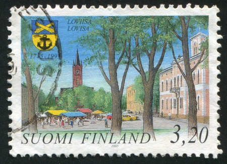 FINLAND - CIRCA 1995: stamp printed by Finland, shows Town of Loviisa, circa 1995 photo