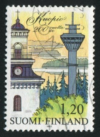 FINLAND - CIRCA 1982: stamp printed by Finland, shows Town Kuopio, circa 1982 photo