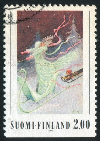 FINLAND - CIRCA 1990: stamp printed by Finland, shows Illustration to The Snow Queen, circa 1990