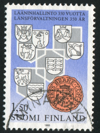 arbalest: FINLAND - CIRCA 1985: stamp printed by Finland, shows Provincial Arms and Seal of Count Per Brahe, circa 1985 Stock Photo